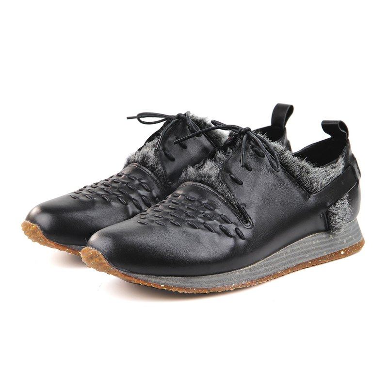 Wallace M1165 Black Leather shearling sneakers