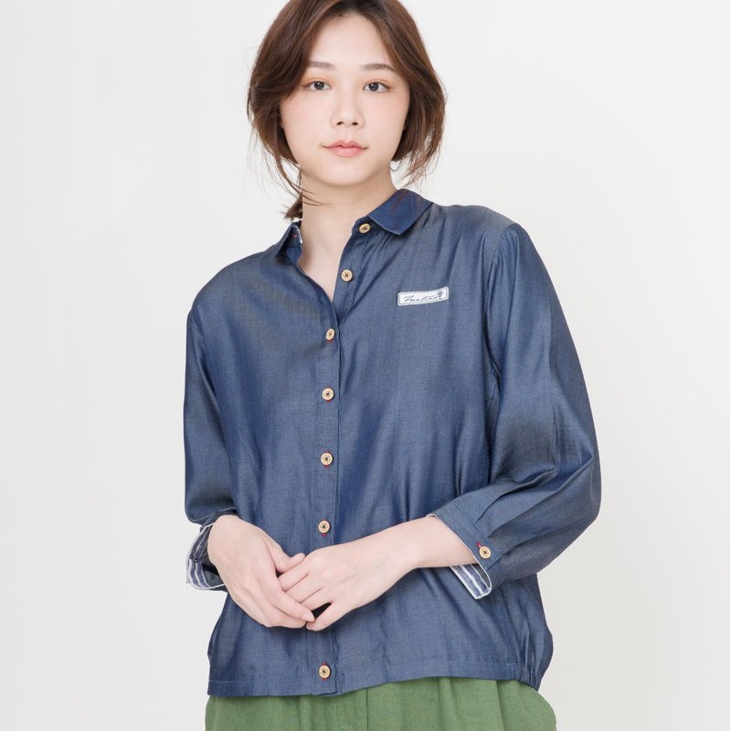 Tencel cotton casual shirt (dark blue)