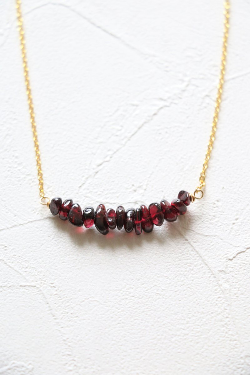 Garnet necklace - natural crystal necklace 18k gold plated crystal choker