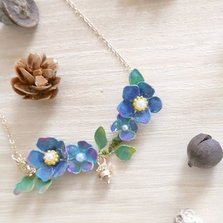 Aramore Autumn Forest Series Blue Flowers, Squirrels and Pine Cones Necklaces