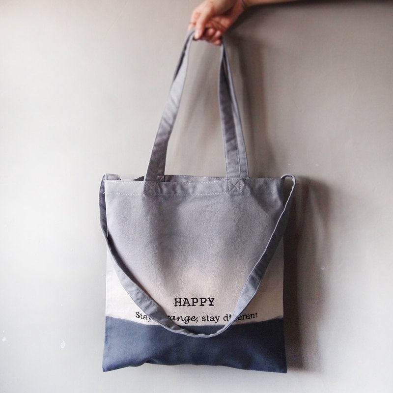 Slogan series double gray / cotton canvas hand dyed handprint tote bag double back