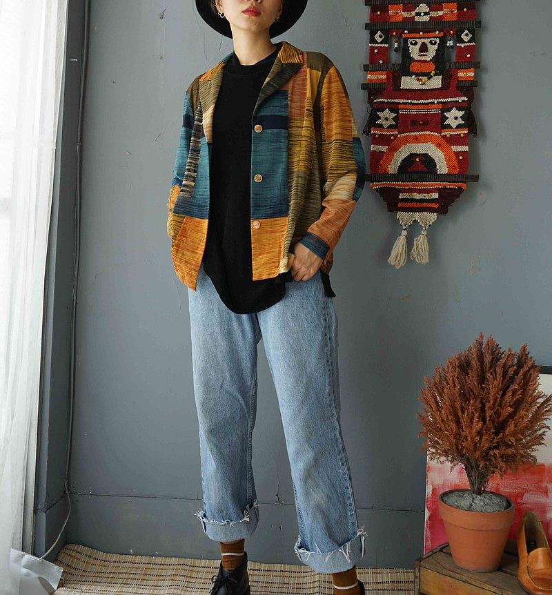 尋寶古著-藝術立體派幾何色塊網紗透膚西裝外套