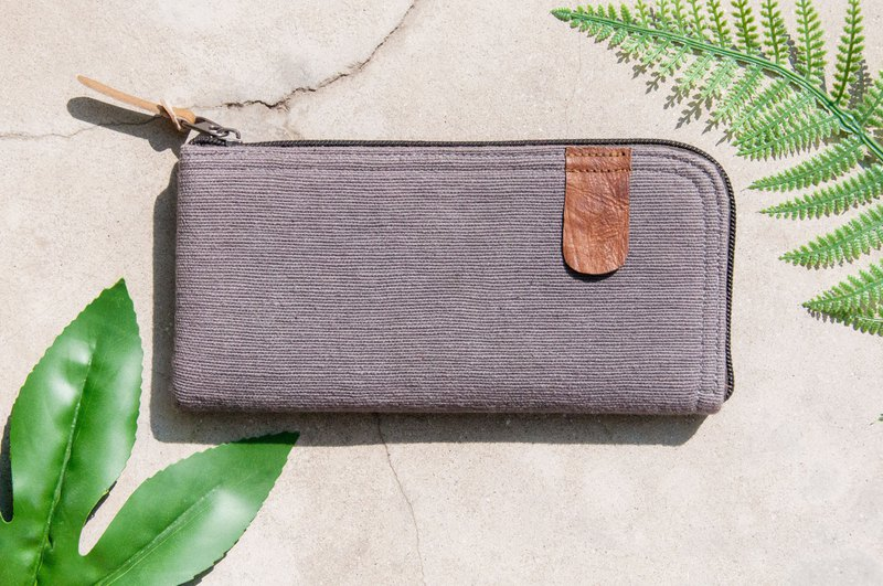 Handmade cotton and linen wallet / woven stitching leather long clip / long wallet / coin purse / woven wallet - gray