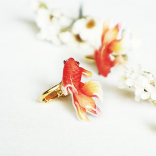 Red goldfish earrings ear clip