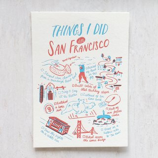 Things I Did in San Francisco Letterpress Postcard
