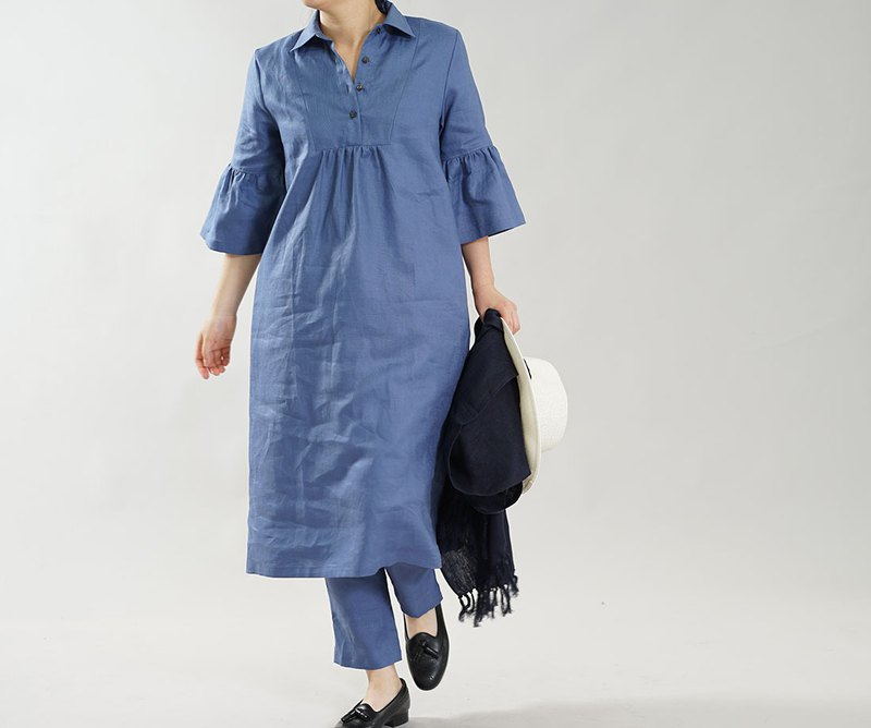 wafu Linen dress / flare sleeve / midi length / 3/4 sleeve / blue a031d-cbn1
