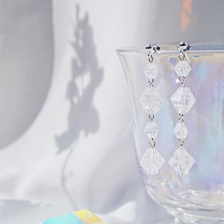Clear Crystal Tear Drop 925 Silver earrings