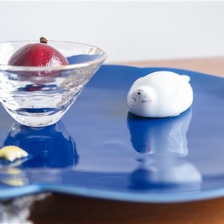 Three shallow ceramic | Original glutinous rice dumpling (Ji blue) and dessert saucer pure hand-painted creative birthday gift