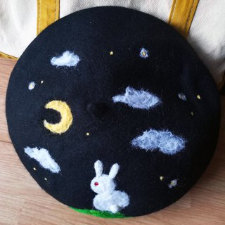 Wool felt  beret - rabbit