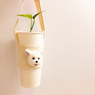 Dog wool felt green cup set green cup bag