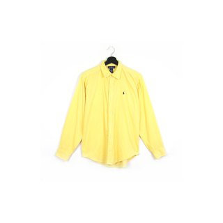 Back to Green :: Corduroy bright yellow polo / / men and women can wear / / vintage Shirts