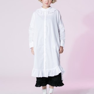 : EMPHASIZE flounced hem lace collar and short in front long dress - White