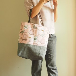 Limited edition Handmade Canvas tote bag bird pattern