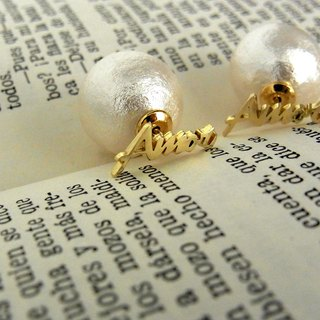Cotton pearl Amor Earrings / brass