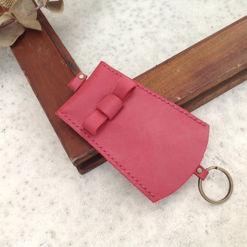 Bow key bag. Key ring, key, telescopic hand-stitched, leather red