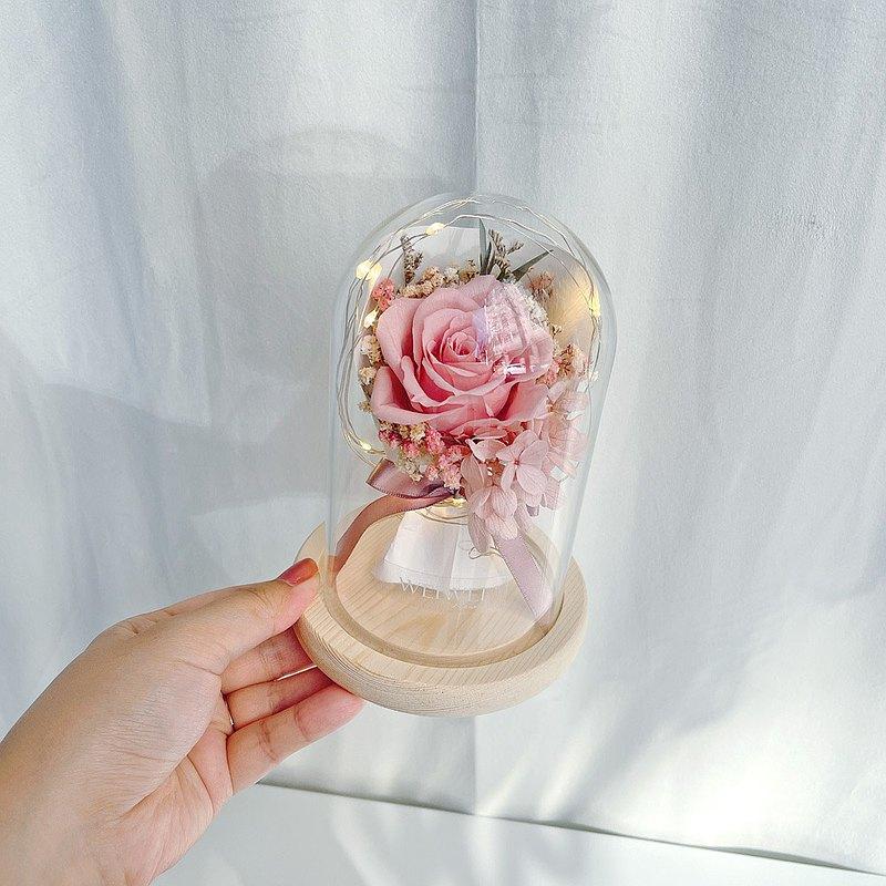 【獨家USB款】LED玫瑰小花束永生花玻璃鐘罩【乾燥玫瑰粉】