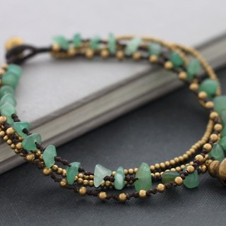 Jade Stone Chain Layer Anklets Ankle Woven Beaded Braided Brass