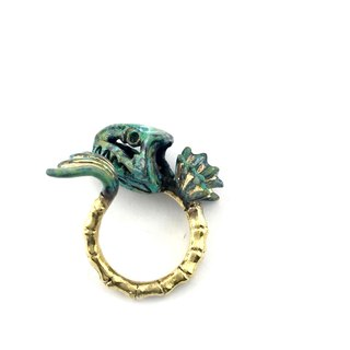 Zodiac Fish bone ring is for Pisces in Brass and Patina green color ,Rocker jewelry ,Skull jewelry,Biker jewelry