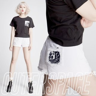 OUTER SPACE Clown head LOGO summer shorts (white)