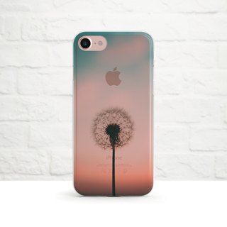 The Dandelion Sunset, Clear Soft Phone Case, iPhone, Samsung