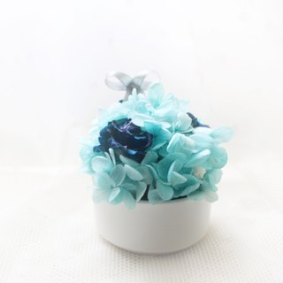 Forest Elf Mini Table Flower Blue Rose, Wood Hydrangea Dry Flower Ceremony