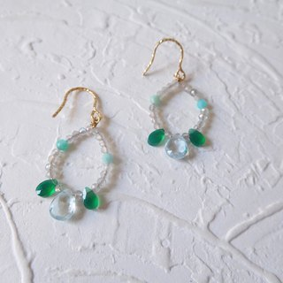 Pack of 14K gold fresh topaz green jade with labradorite hook earrings can be changed