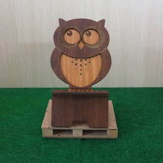 Taiwan stack [custom - color pattern lettering can be replaced] wood mobile phone holder - owl mobile phone holder / decorations / business card holder / gift / gifts / mobile phone accessories / stationery