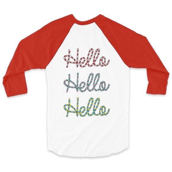 Hello rope with the key - White / Red - Sleeve Baseball T-Shirt