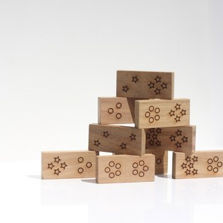 Wooden Domino Set with wood box- Star, Moon, Sun