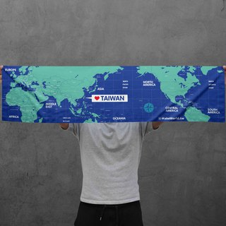 Make World map manufacturing sports towel (blue)