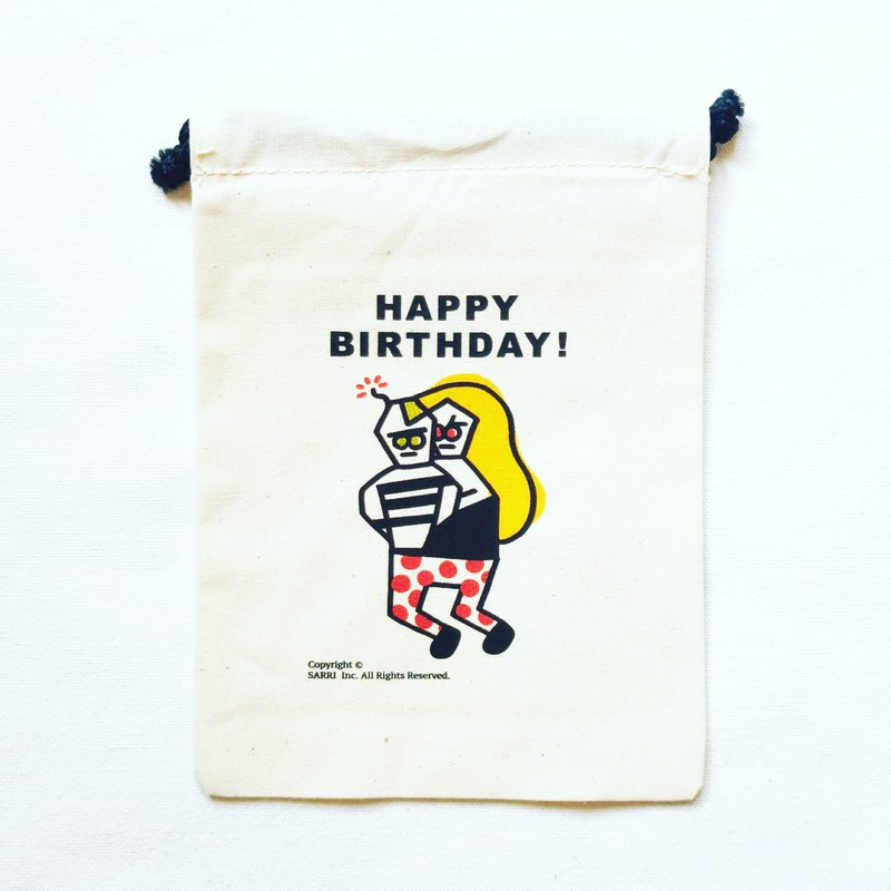 Bundle pocket HAPPY BIRTHDAY canvas bag tote bag green bag beverage bag handbag