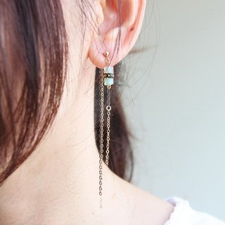 漾Der Green East Stone 14KGF Earrings / 14KGF earring