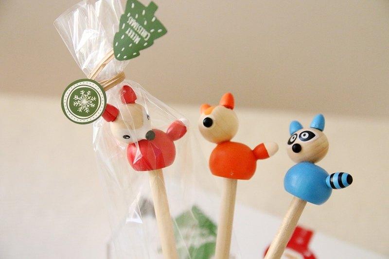 木製森林動物三兄弟鉛筆(一組3入) - 筆頭可拆