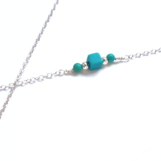Simple Straight Necklace / Arrangement - Turquoise 925 Silver Necklace