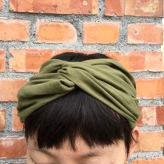 Army green cotton wide headband hair band