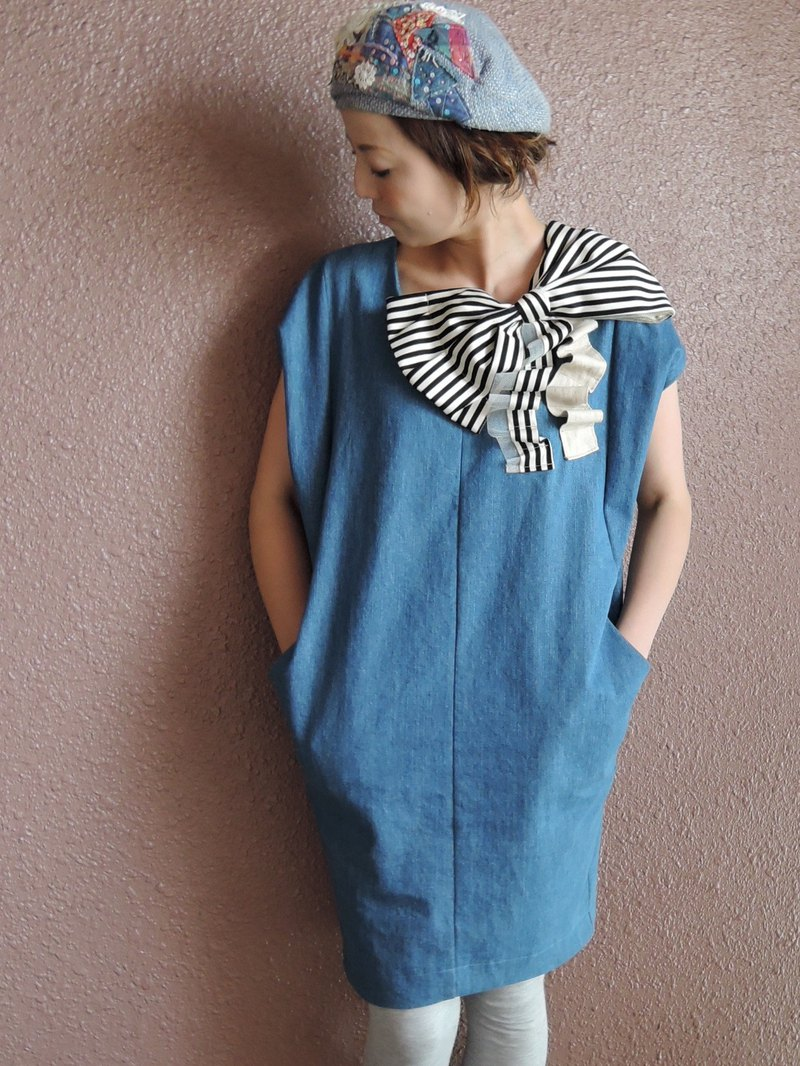RATA original denim dress with ribbon and pockets【Japan】