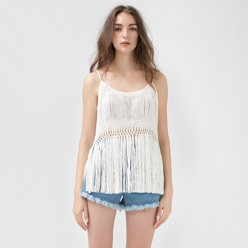 VACAE Spaghetti Strap Hollow Beach Top