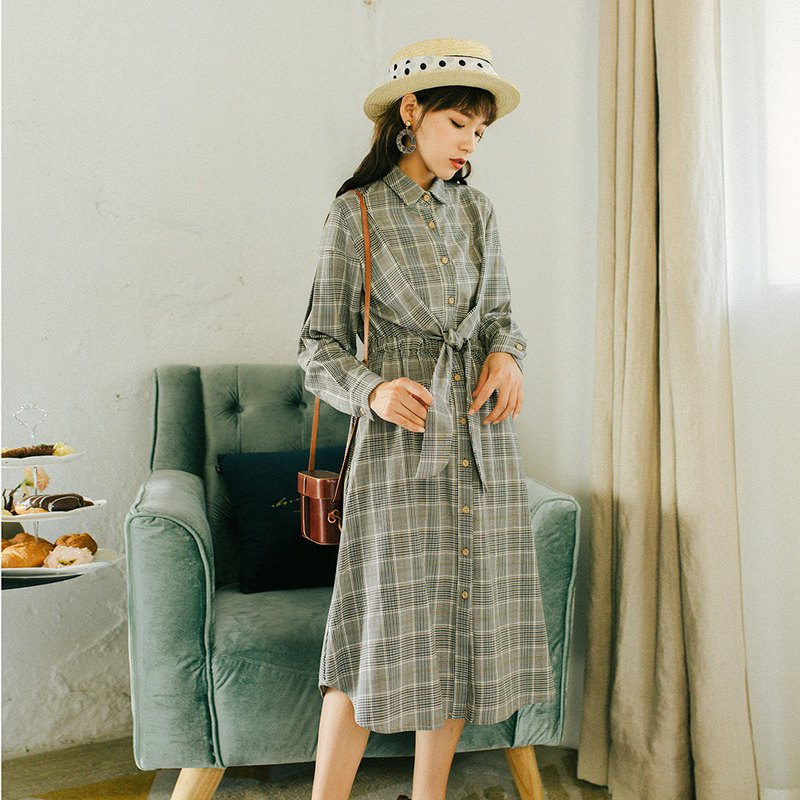 [Full court specials] Early spring ladies wear waistband plaid dress YFQ8770