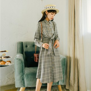 [Buy two get one free] 2018 autumn women's new waist section with plaid dress
