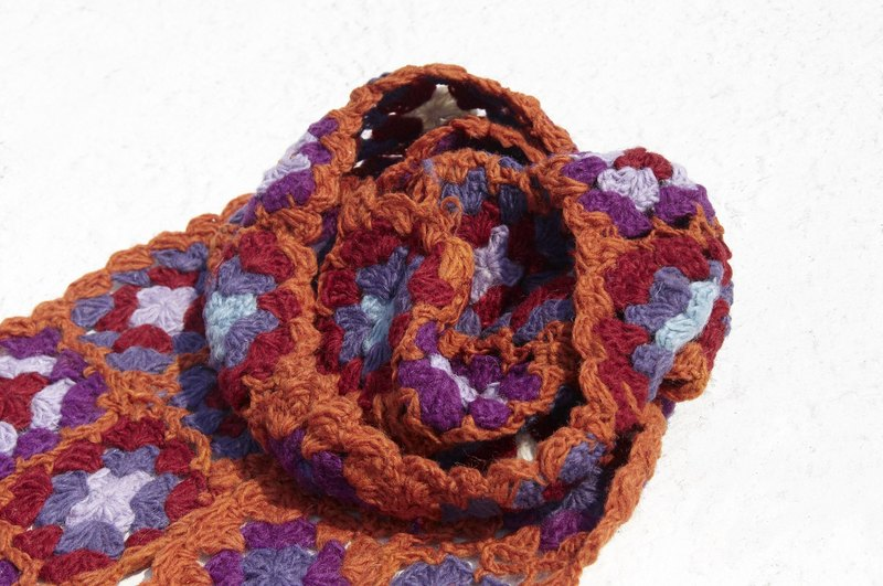 Christmas gift limited edition handmade crocheted wool scarves / flowers crocheted scarves / crocheted scarves / hand-knit scarves / flowers woven stitching wool scarves - Eastern European forest flowers scarves orange forest