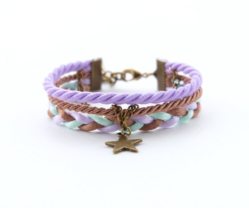 Star layered rope bracelet in Matte lavender / cinnamon brown / light mint