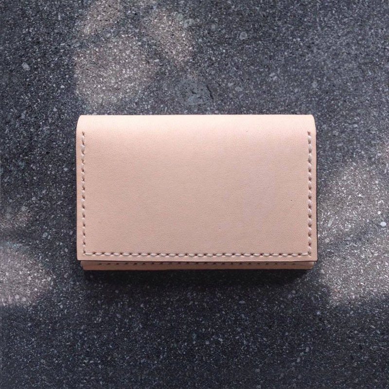 Double buckle leather card case color leather / astringent business card holder card case