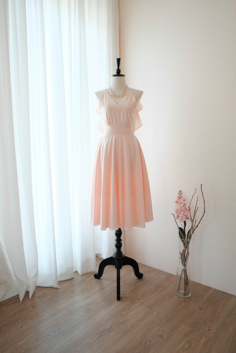 Pink blush Dress Women Bridesmaid Backless Cocktail Party Dress