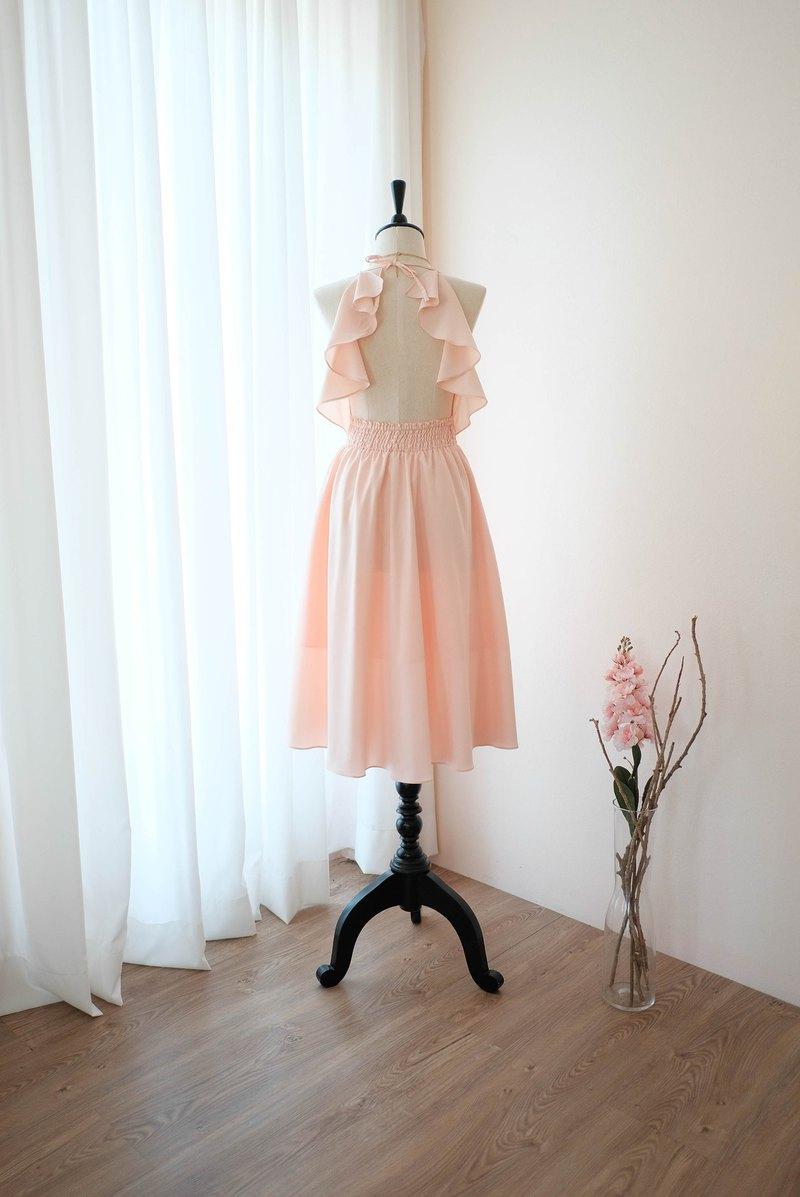 粉色腮紅連衣裙女式伴娘露背雞尾酒會禮服