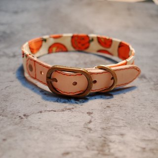 Dog Collar L No. HALLOWEEN Halloween Big Pumpkin Check Day Japanese Cloth with Bells Vegetable Skin Picks