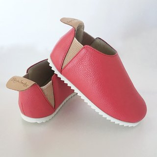 Beven Smiley. V series full leather children's shoes - Lychee paragraph - coral (slippers / lazy shoes)