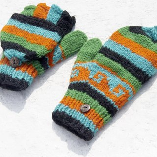 Christmas gift creative gift limited a hand-woven pure wool knitted gloves / removable gloves / bristles gloves / warm gloves (made in nepal) - South American magic green forest national totem