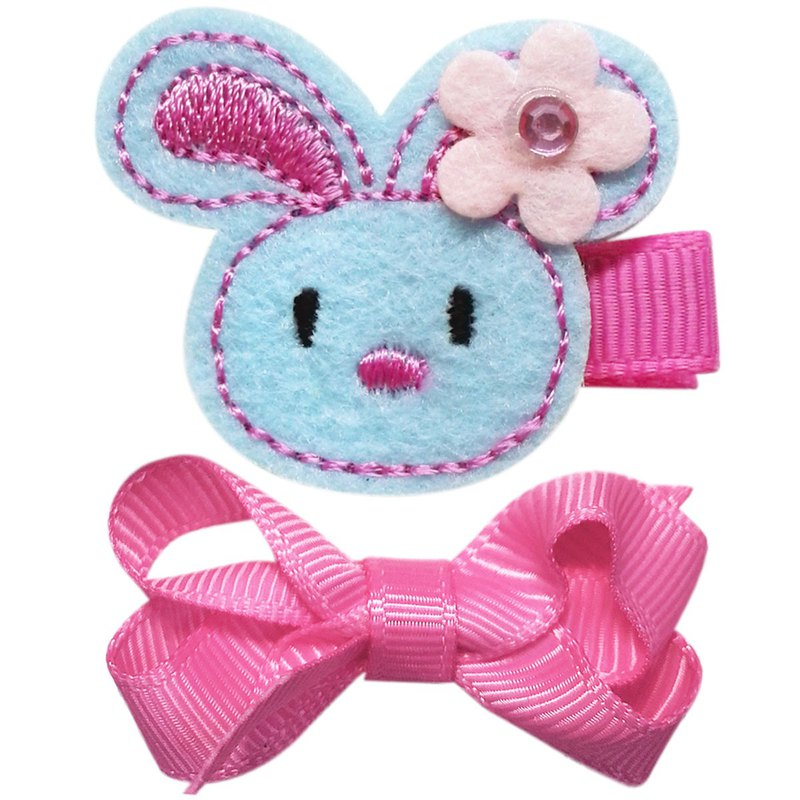 Pink rabbit and small bow hairpin two into the group all-inclusive cloth handmade hair accessories Bunny