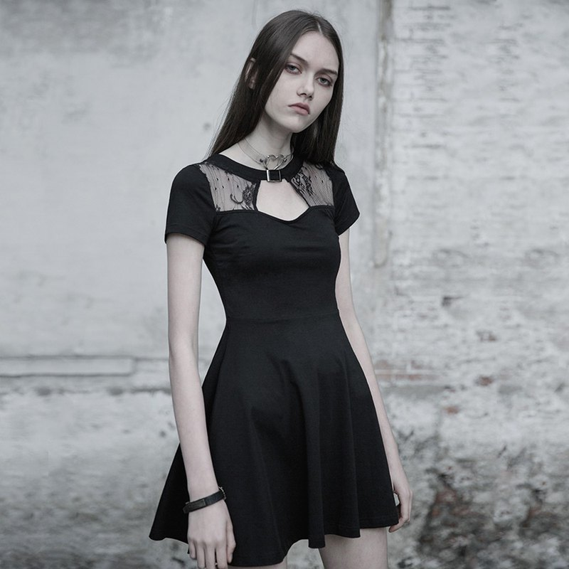 Gothic Girl Lace Cutout Dress