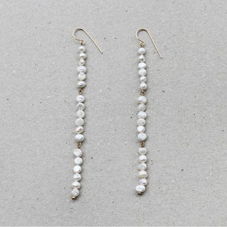 Baroque Pearl String Long Brass Earrings - 14K Gold Filled Hooks / Clip-Ons